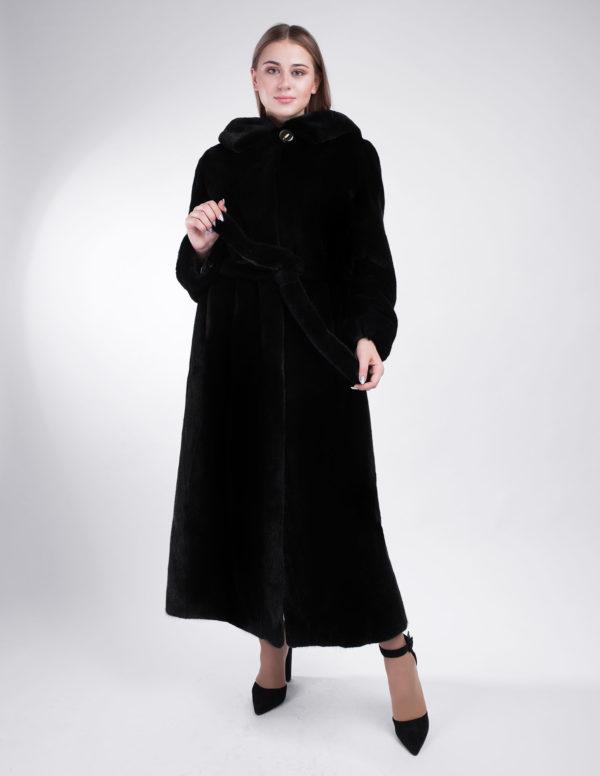 Черная норковая шуба Blackglama с капюшоном 492